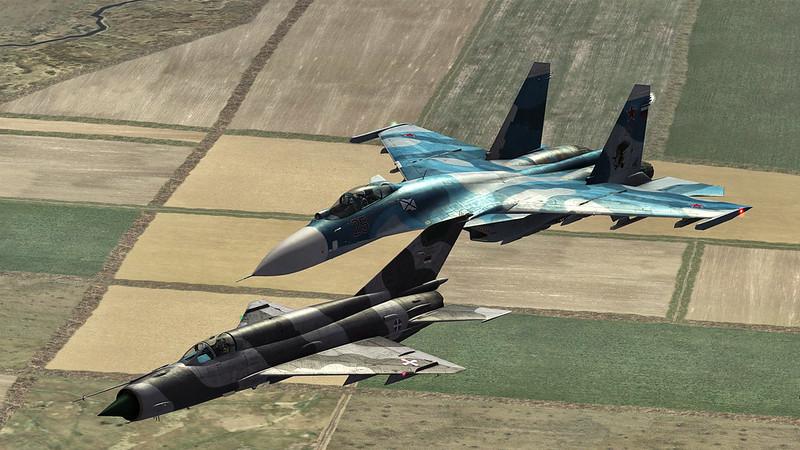 Imagen del juego DCS en el que se aprecian dos aviones rusos
