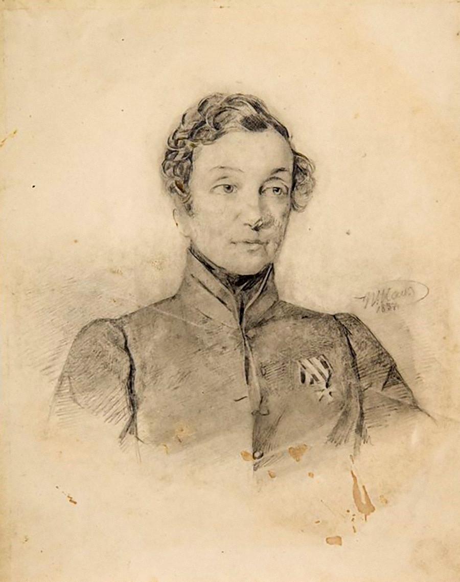 В. И. Гау. Портрет Н. А. Дуровой с Георгиевским крестом. 1837