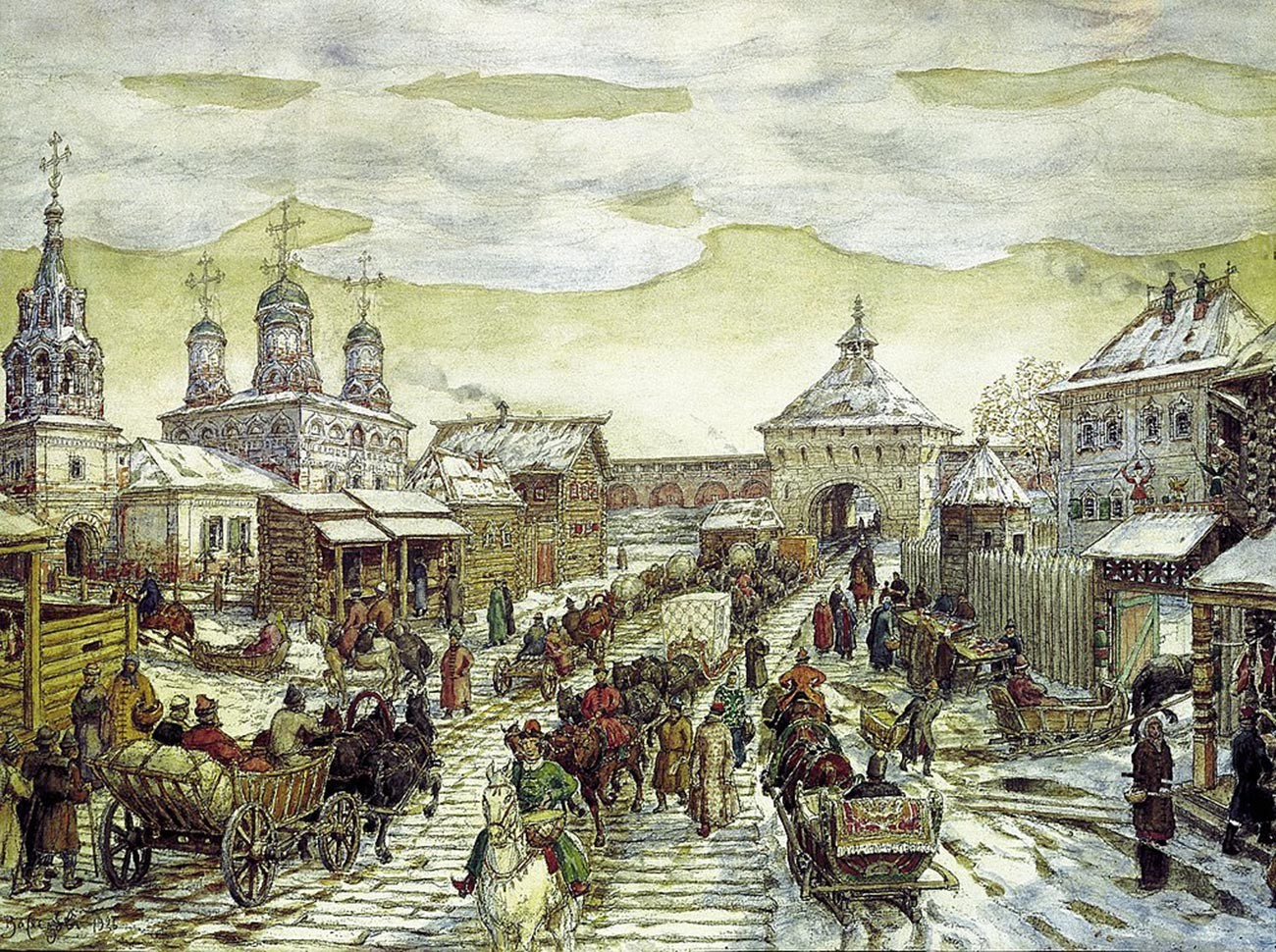 Apollinary Vasnetsov. At the Myasnitsky Gate of the White City in the 17th century