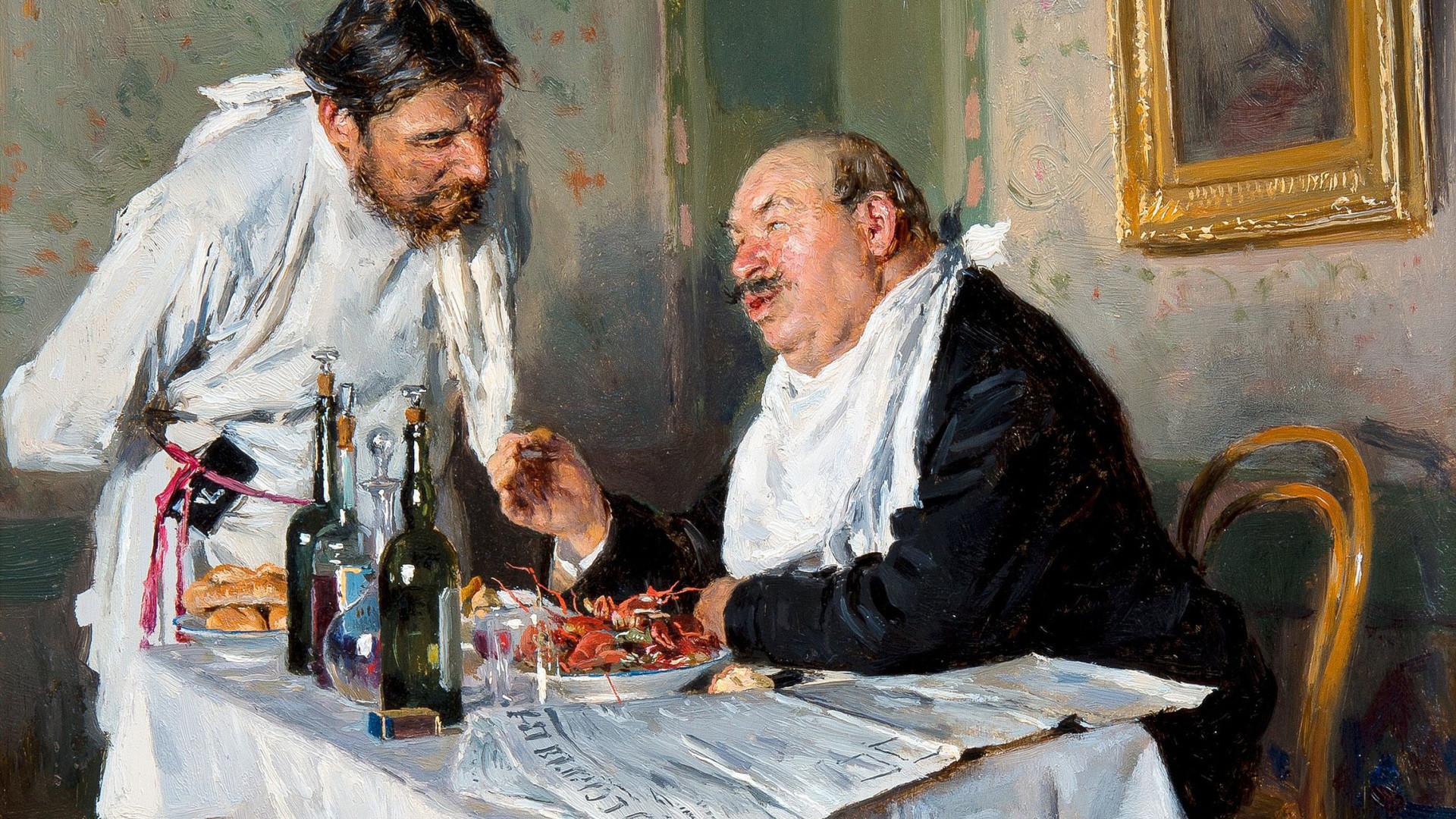 Lukisan berujudul 'Di Kantin' karya Vladimir Makovsky, 1887.