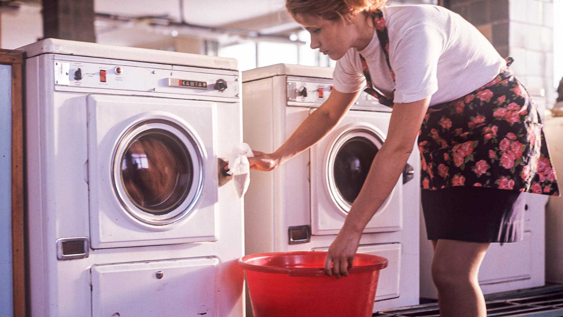 In der Wäscherei Tschaika in Moskau.