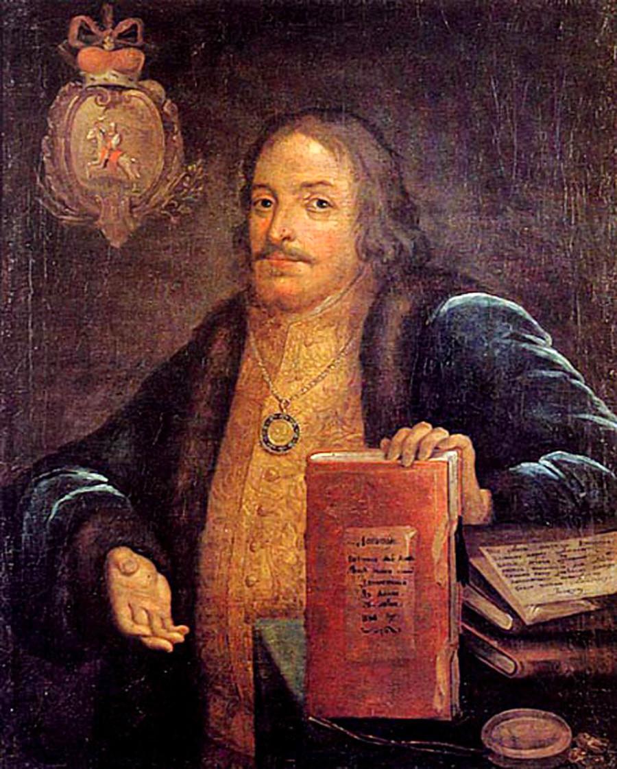 Княз Василий Голицин с награден медал. Държавен исторически музей. На портрета В.В. Голицин е изобразен с текста на
