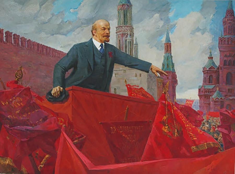 """""""Lenin di Lapangan Merah,"""" oleh A. Sidorov, 1924"""