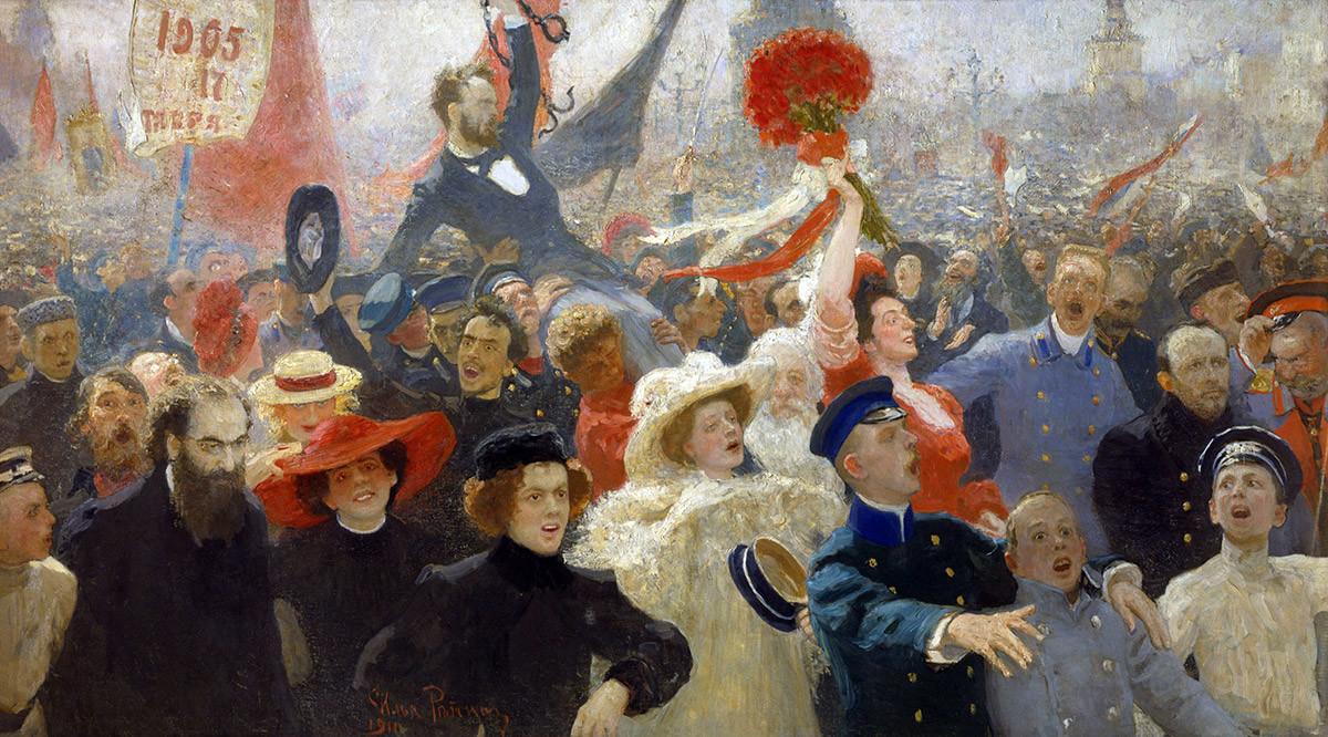 """Demonstrasi pada 17 Oktober 1905"" oleh Ilya Repin, dari tahun 1907 hingga 1911"