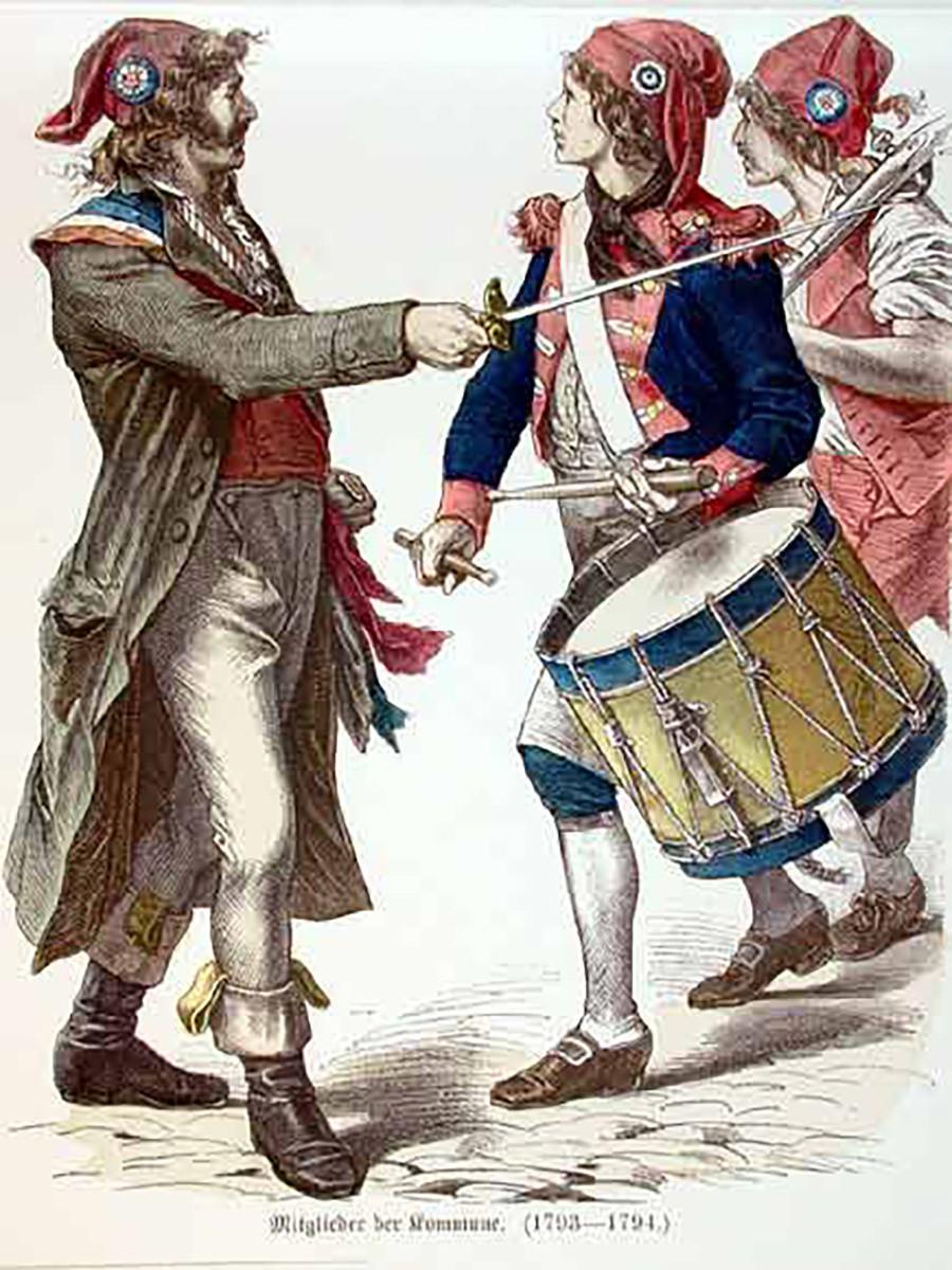 """Pejuang Revolusi Prancis mengenakan topi Frigia dan """"cockade"""" triwarna."""