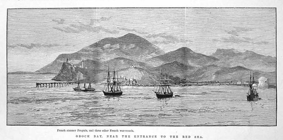 El Seignelay, el Primauguet, el Météore y el Pingouin frente a la costa de Obock. Illustrated London News, 15 junio 1889