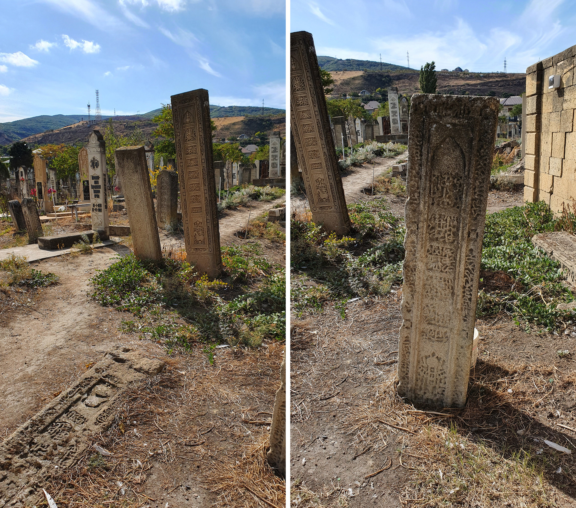 Batu-batu nisan di tanah pemakaman Derbent.