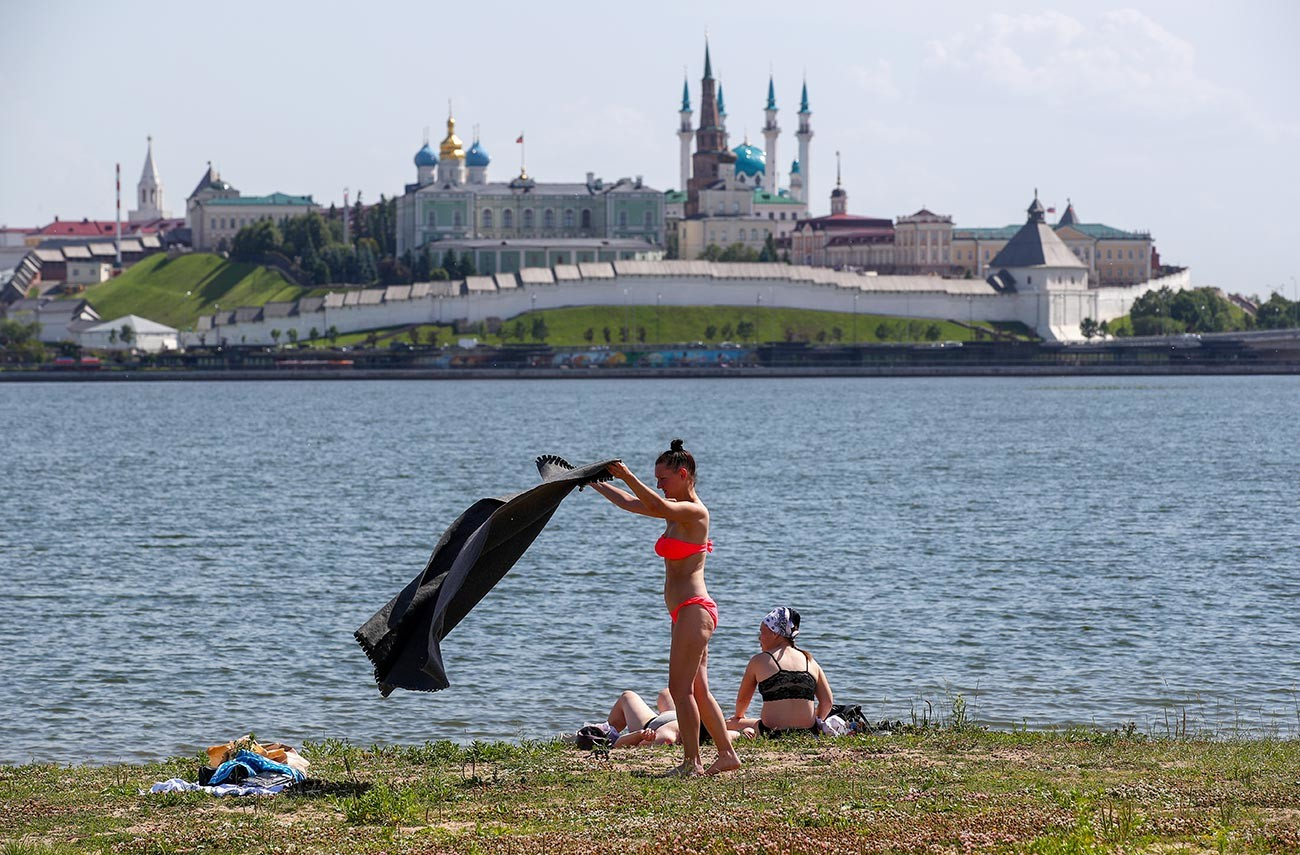 Pemandangan di seberang Kazan Kremlin.