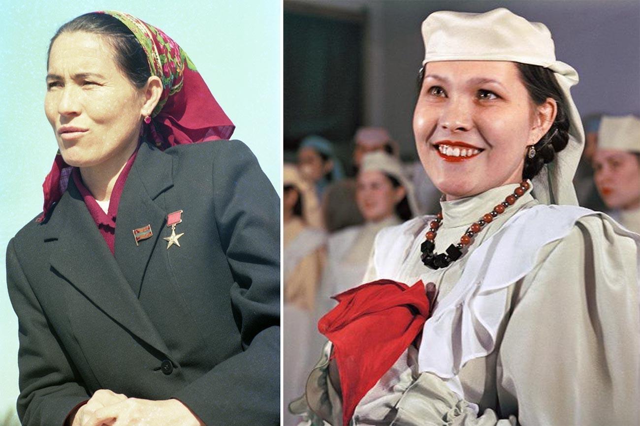 Kiri: Munavvar Isakova, pemerah susu dari pertanian kolektif Republik Sosialis Soviet Uzbekistan, Pahlawan Buruh Sosialis. Kanan: Lina Zaripova, seorang biduan, di Kazan. Kedua perempuan di atas mengenakan anting dengan permata besar.
