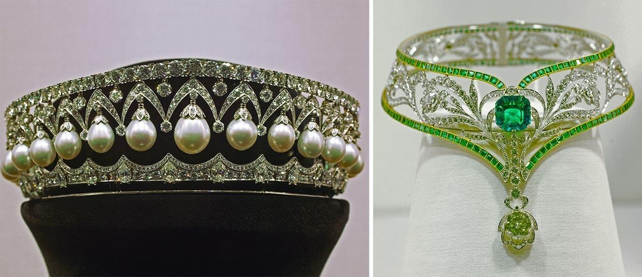 Kiri: Mahkota Kecantikan Rusia, 1987, replika mahkota mutiara Romanov. Kanan: Sebuah kalung zamrud, 1977. Keduanya disimpan di Almazny Fond.