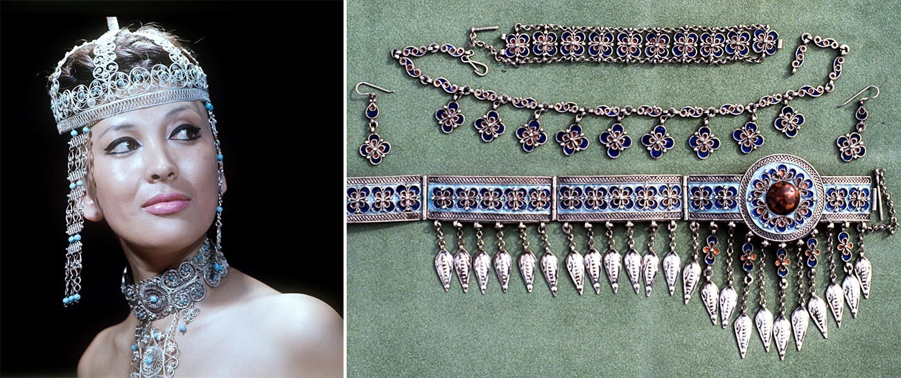 Kiri: Perhiasan buatan perajin Kazakhstan. Kanan: Filigrana buatan perajin Turkmenistan.