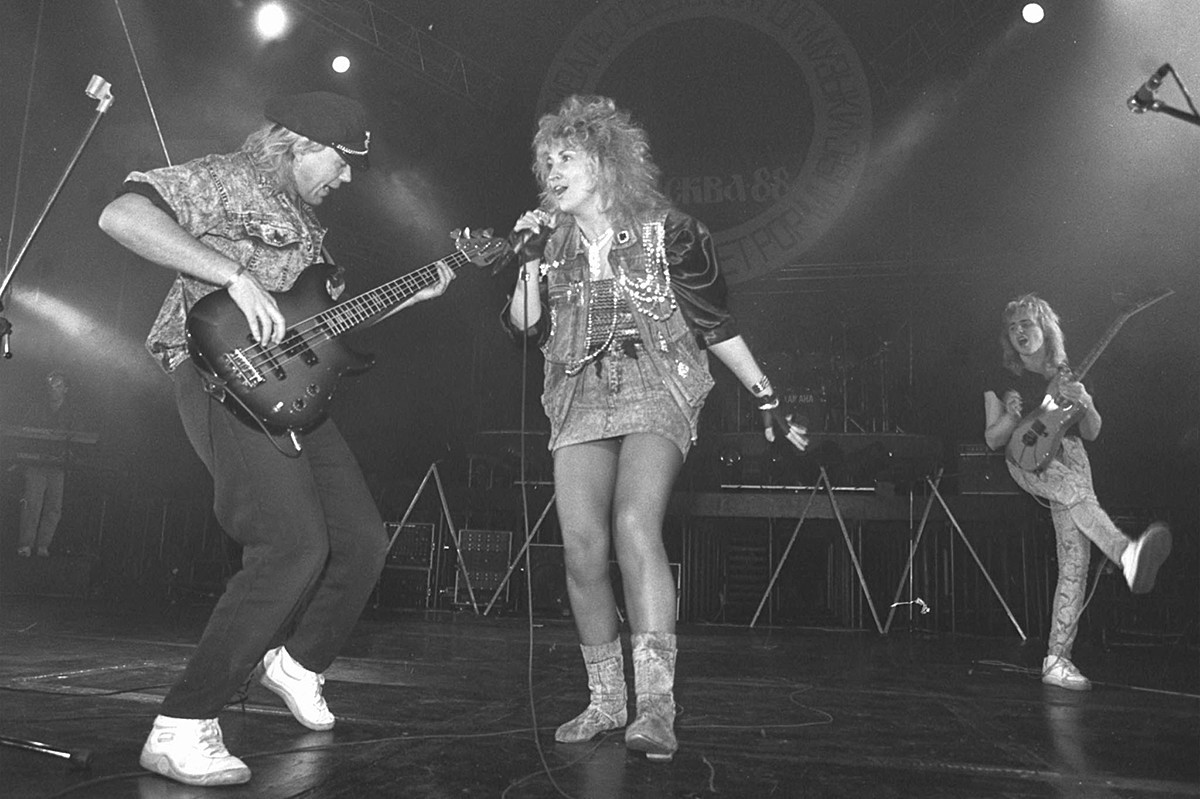 Penyanyi Irina Allegrova dan grup musiknya, 1980-an.