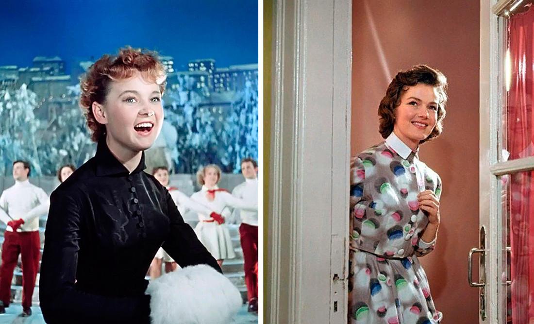 "Kiri: Gurchenko dalam film ""Karnavalnaya Nocht"", 1956. Kanan: Bintang Teater Vakhtangov Yulia Borisova, 1962."