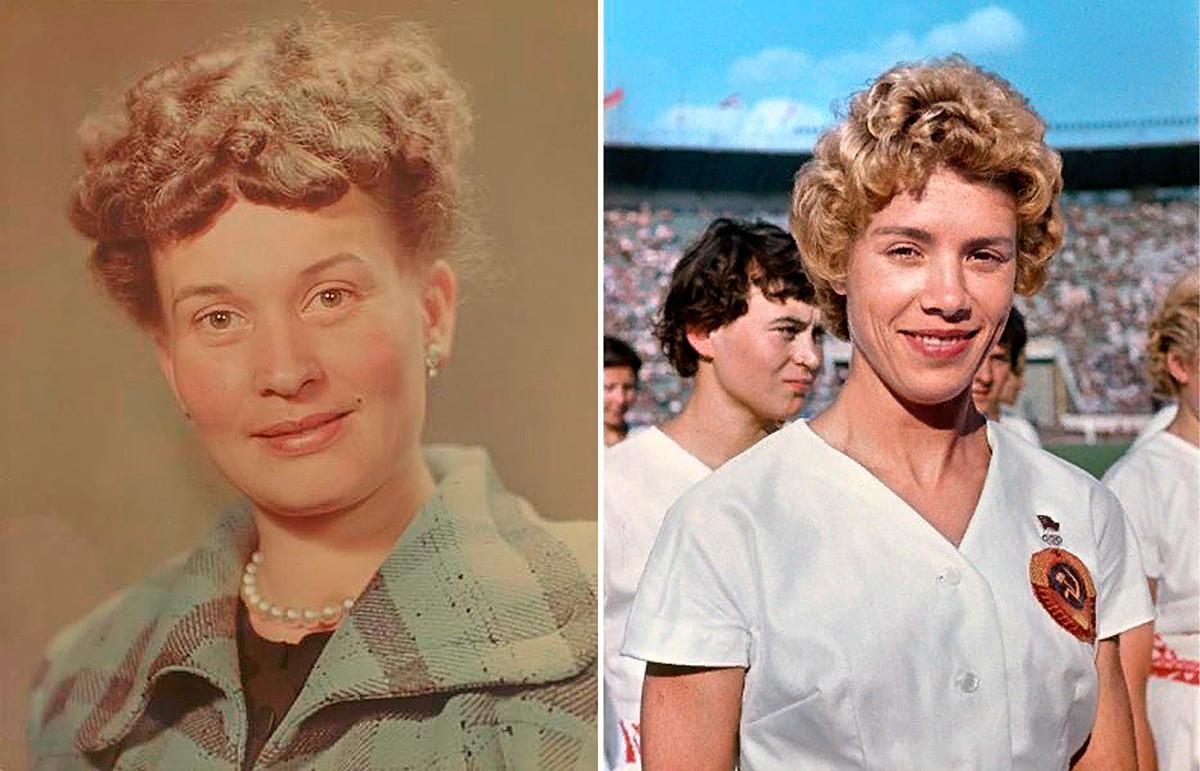 Kiri: Aktris Soviet Nina Alisova, 1960-an. Kanan: Pesenam Olimpiade Soviet Larisa Latynina, 1960-an.