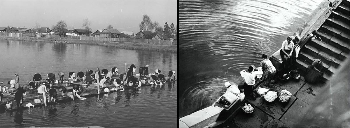A sinistra, il giorno del bucato nella Regione di Vologda, 1950; il bucato nel fiume Moscova a Mosca, 1925