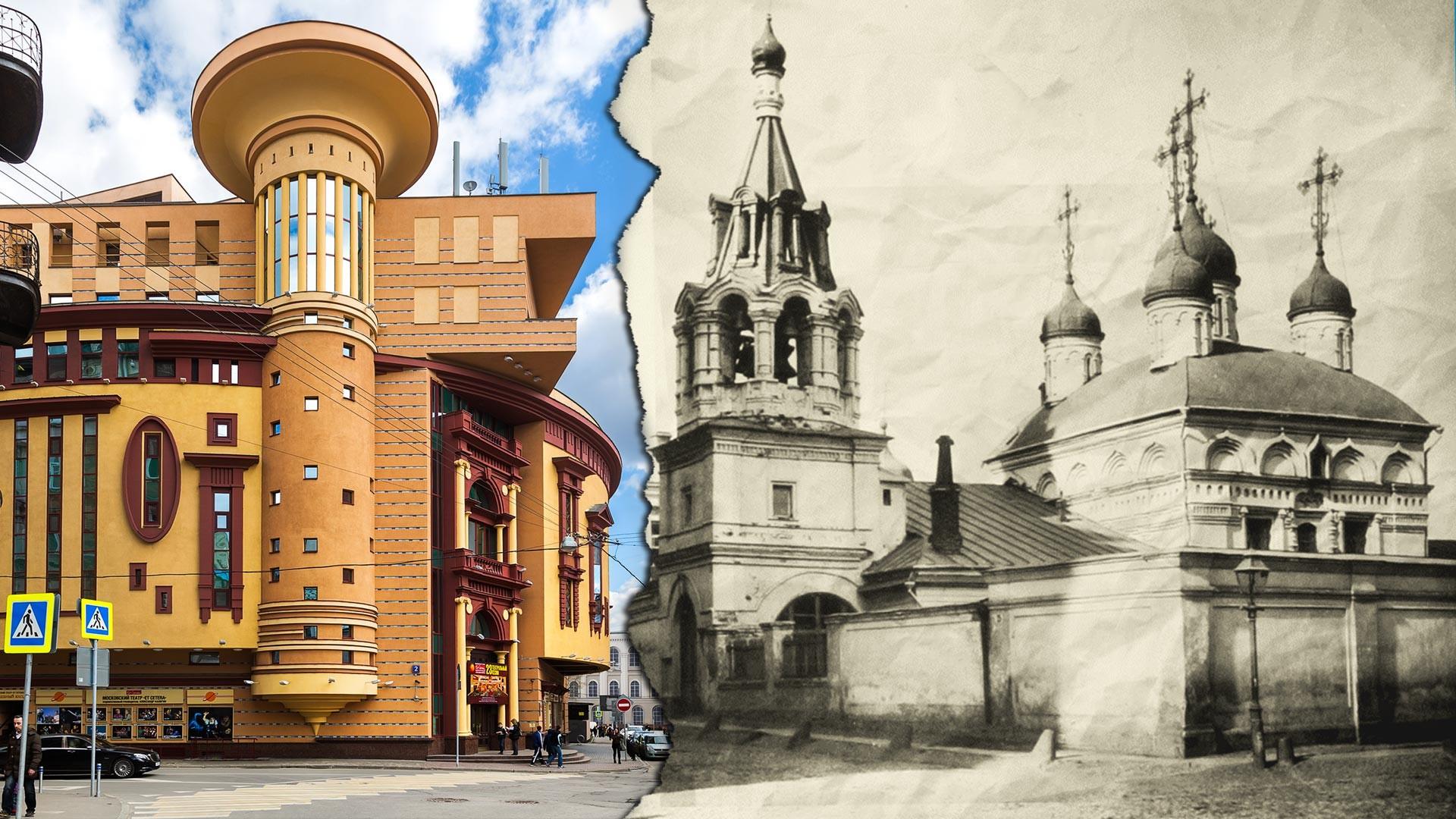 La Chiesa di Floro e Lauro alla Porta Mjasnitskij (a destra) oggi avrebbe potuto svettare di fronte al moderno teatro Et Cetera (a sinistra)