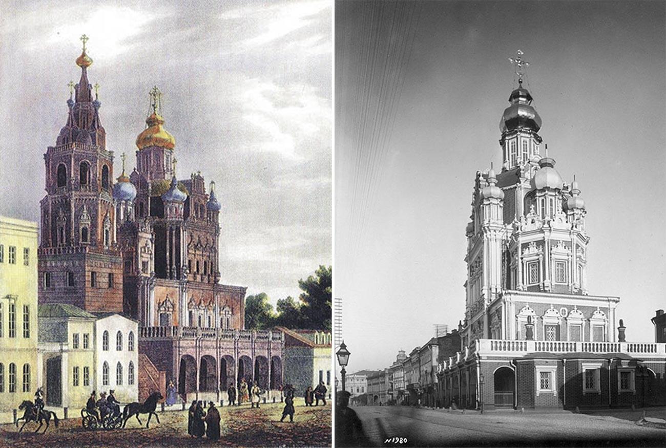 Chiesa dell'Assunzione. Litografia del 1825 di O.Kadol (a sinistra) e foto del 1883