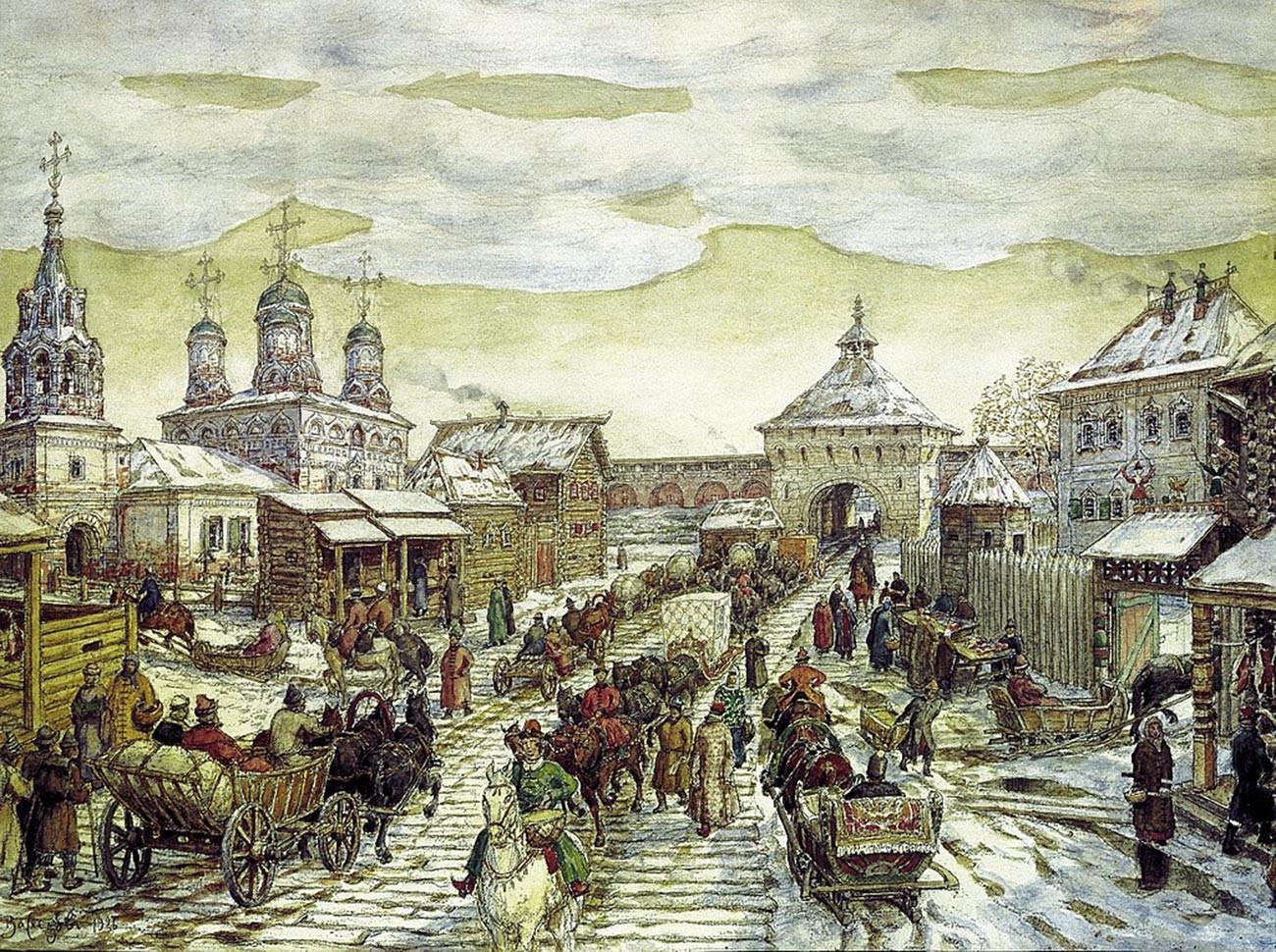 """Dipinto di Apollinarij Vasnetsov (1856-1933) """"Alla Porta Mjasnitskij della Città Bianca nel XVII secolo"""""""
