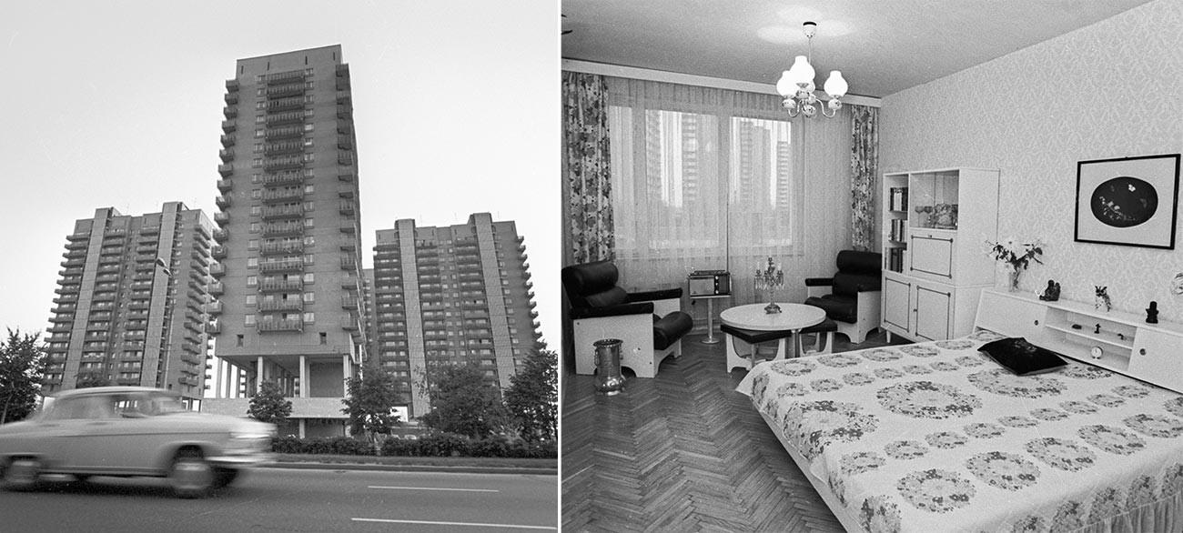 Kiri: Koperasi perumahan di Moskow. Kanan: Apartemen di sebuah kondominium di Moskow.