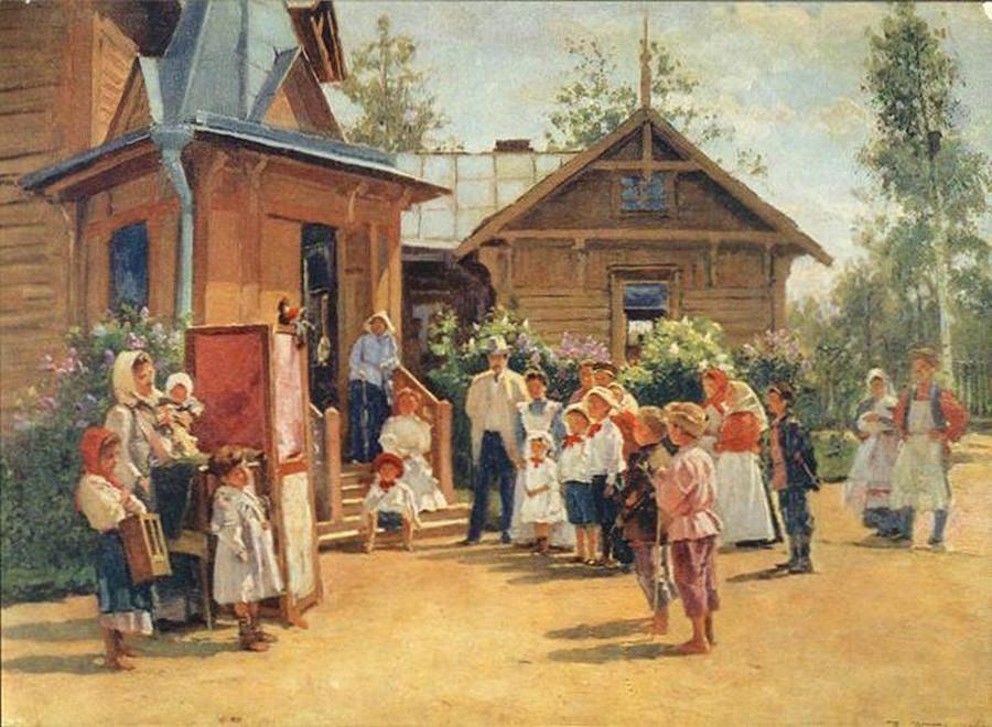 Vladimir Makovski. Spectacle de marionnettes aux datchas, 1908