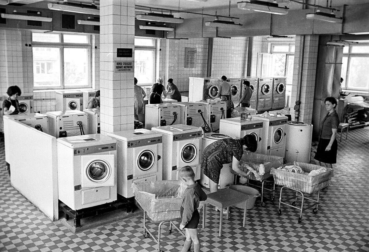 En la lavandería Chaika de Moscú
