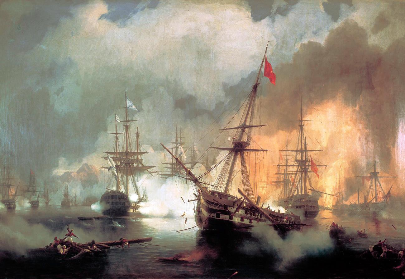 Ivan Aïvazovski. Bataille de Navarin (1848)