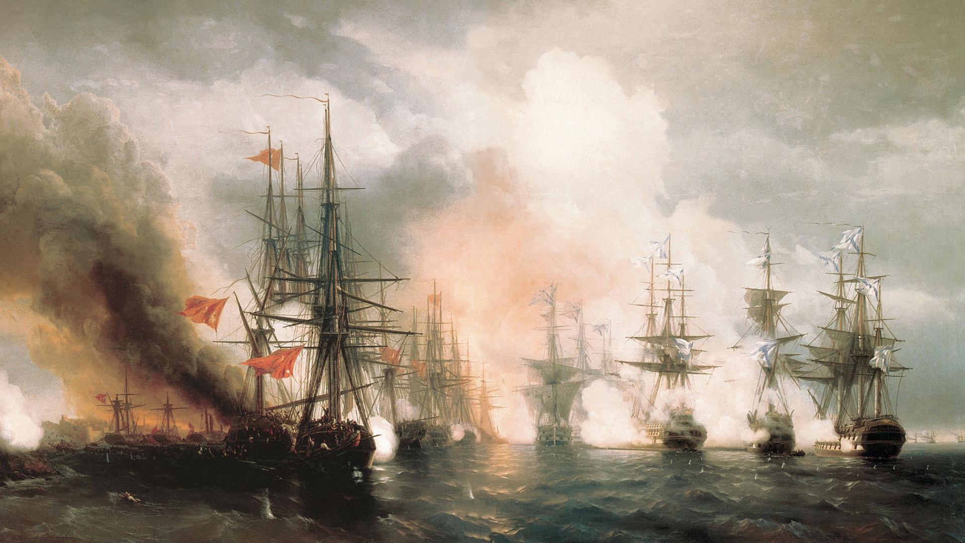 Ivan Aïvazovski. Bataille de Sinope (1853)