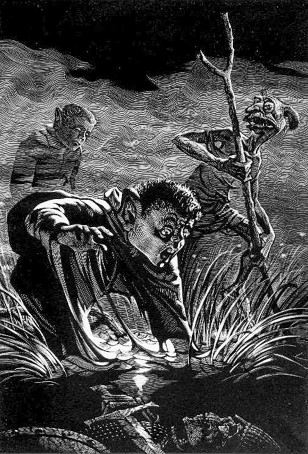 Illustration d'un ouvrage du Seigneur des Anneaux