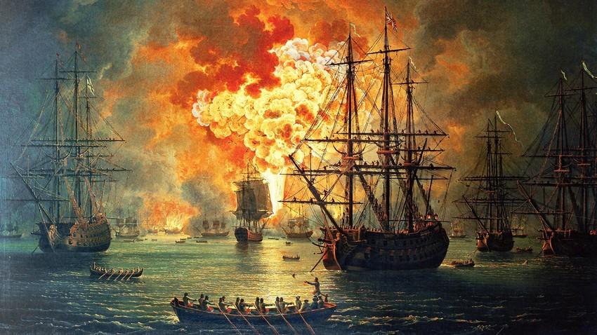La distruzione della flotta turca nella baia di Cesme