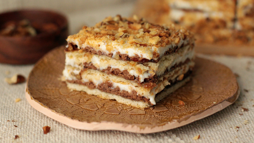 This is a rare multi-layered homemade cake named after a famous Soviet song.
