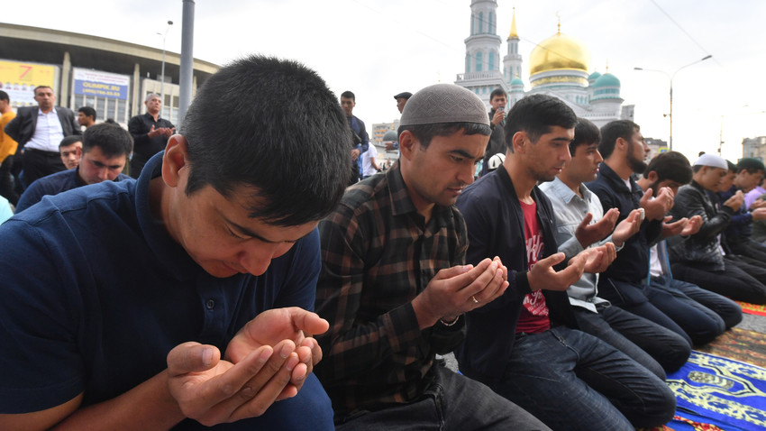Perayaan hari raya Idu Adha di Moskow, Rusia, pada 21 Agustus 2018.