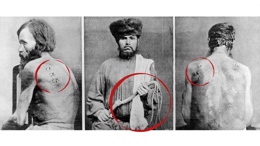 """Von links nach rechts, ein sibirisches Sträfling, das wegen seines Fluchtversuchs mit den Buchstaben """"CK"""" gebrandmarkt wurde, der Henker von Kara und ein Gefangener, der um 1860 von der """"Knute"""" oder der Peitsche gezeichnet wurde."""