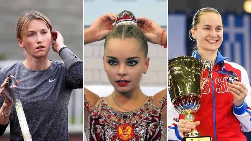 (Dari kiri) Anzhelika Sidorova, Arina Averina, dan Sofia Velikaya.