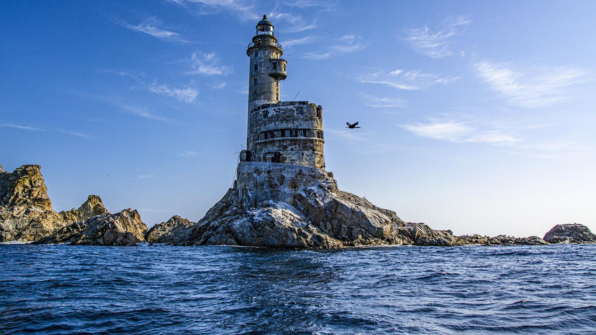 an abandoned lighthouse on Cape Aniva Sakhalin Island