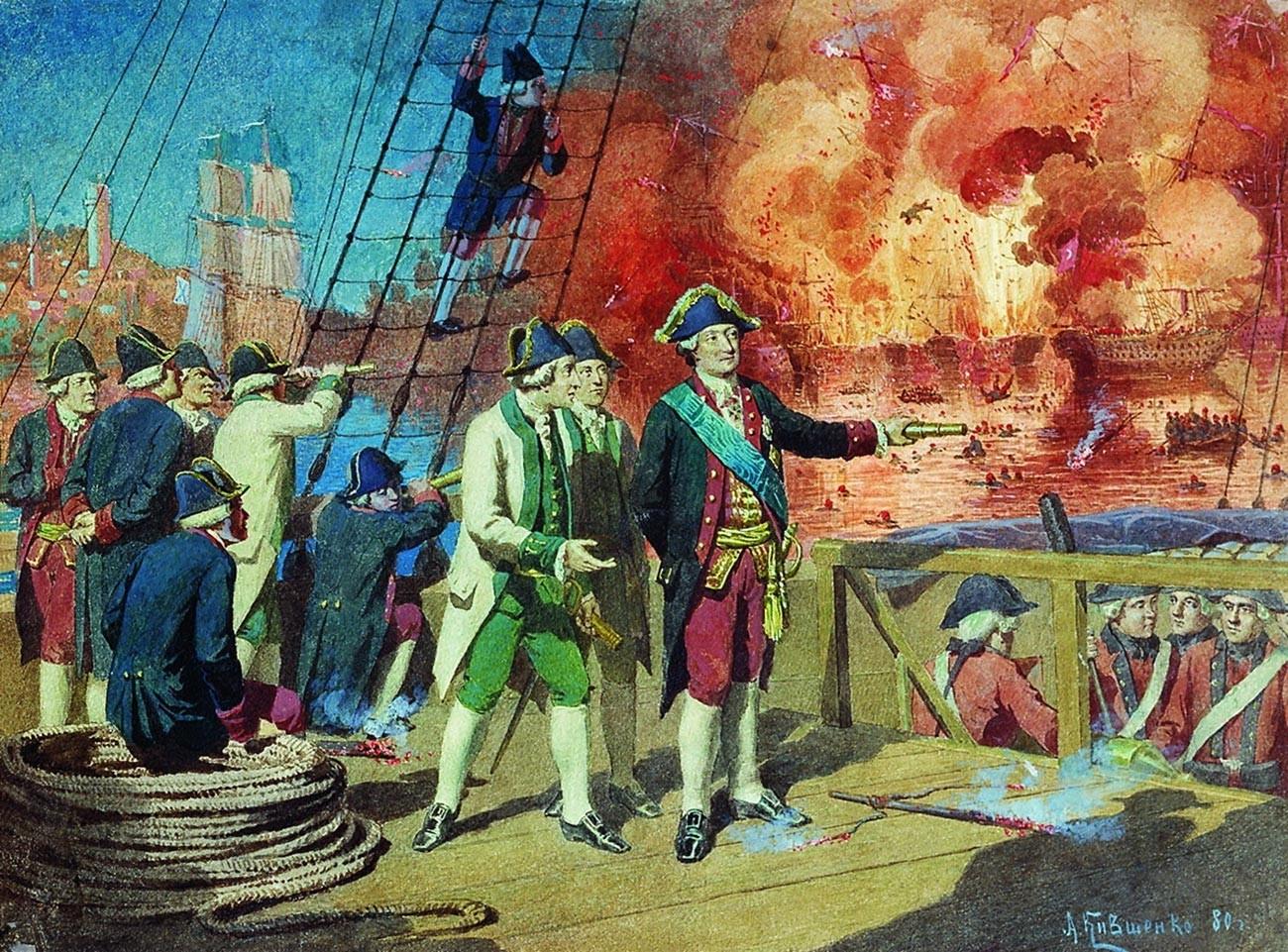 Уничтожение турецкого флота в Чесменском сражении.