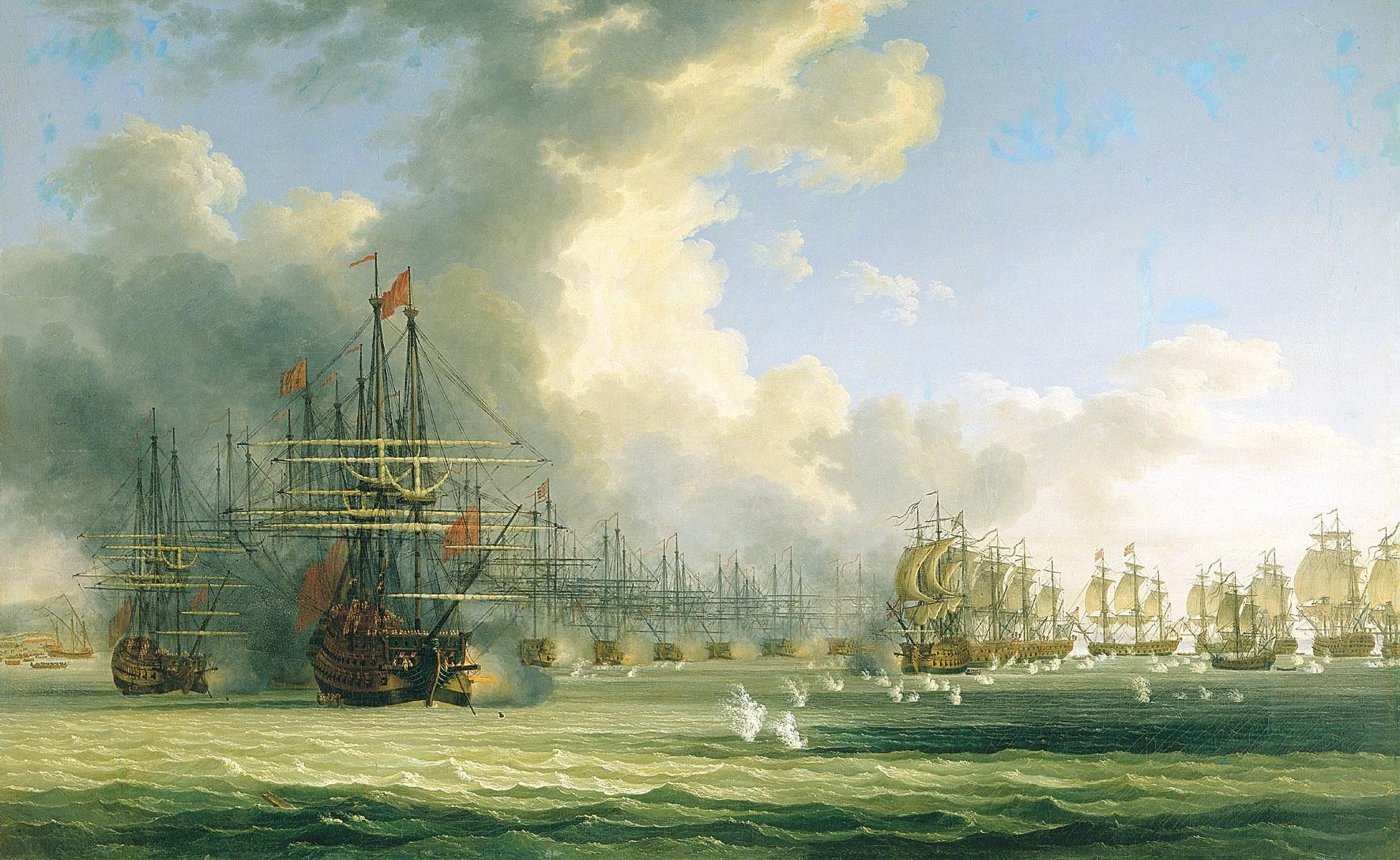 Начало боя в Хиосском проливе 24 июня 1770 года.