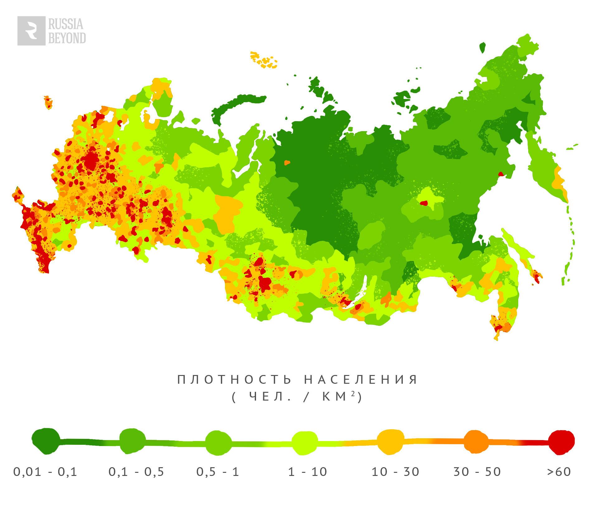 Карта на гъстотата на населението (жители на кв.км)