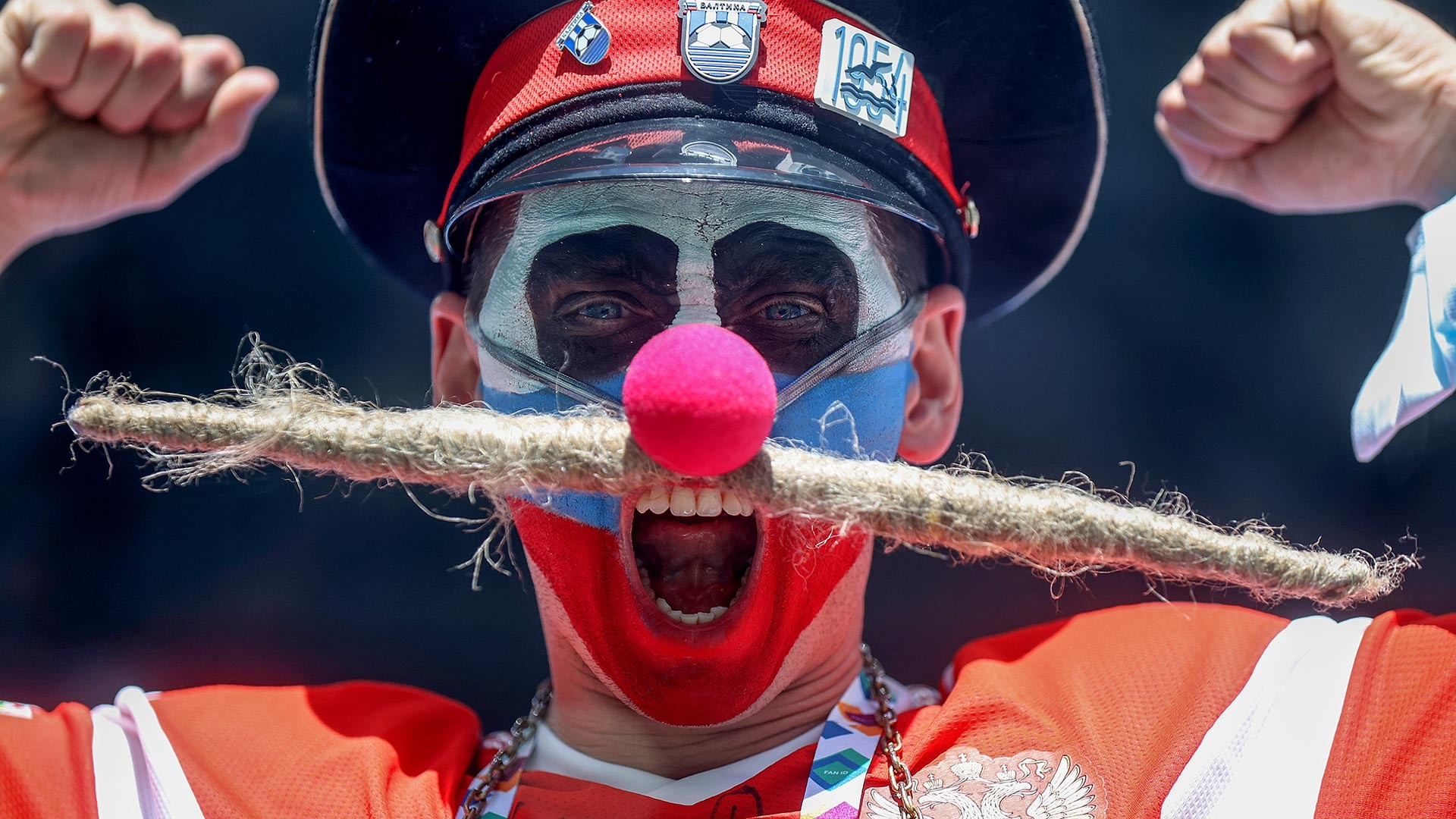 A Russia fan shows their support prior to the UEFA Euro 2020 Championship Group B match between Finland and Russia at Saint Petersburg Stadium on June 16, 2021 in Saint Petersburg, Russia.
