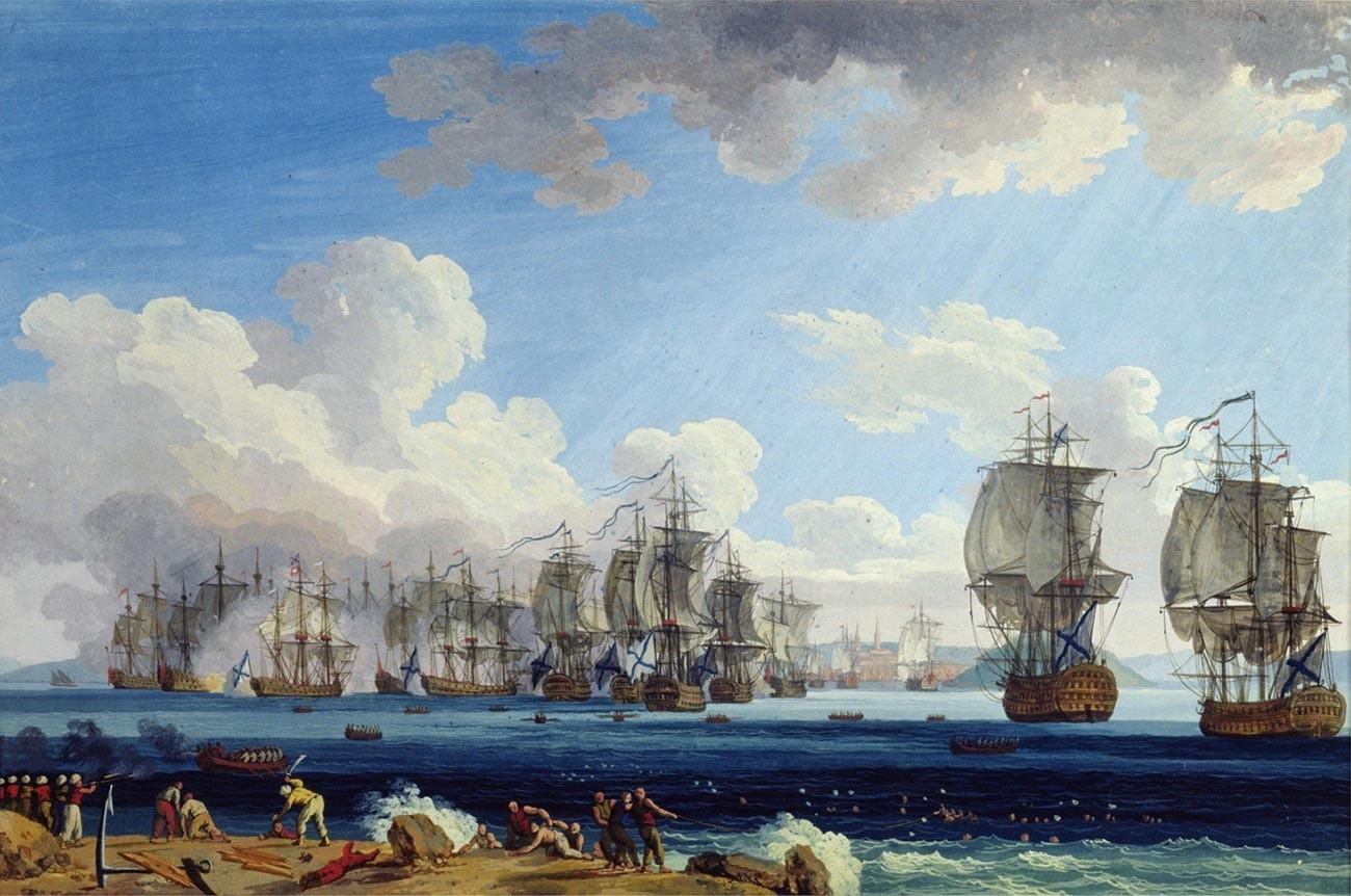 Rückzug der türkischen Flotte in die Bucht von Chesme.