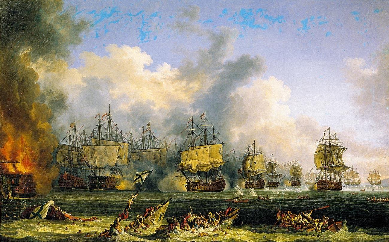"Der Untergang des russischen Flaggschiffs ""Sankt Eustachius""."