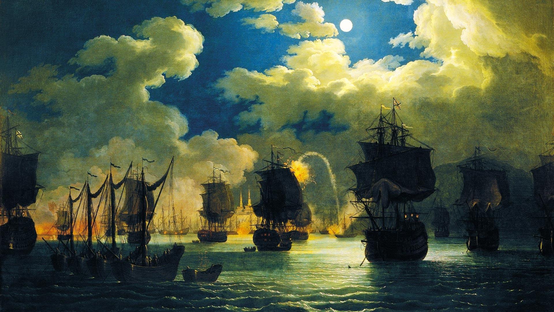 Der Beginn der Schlacht von Chesme in der Nacht des 7. Juli 1770.