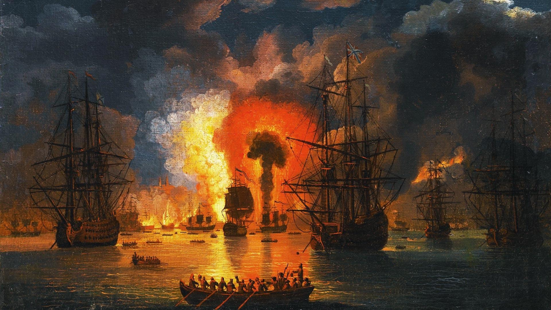 Verbrennung der türkischen Flotte