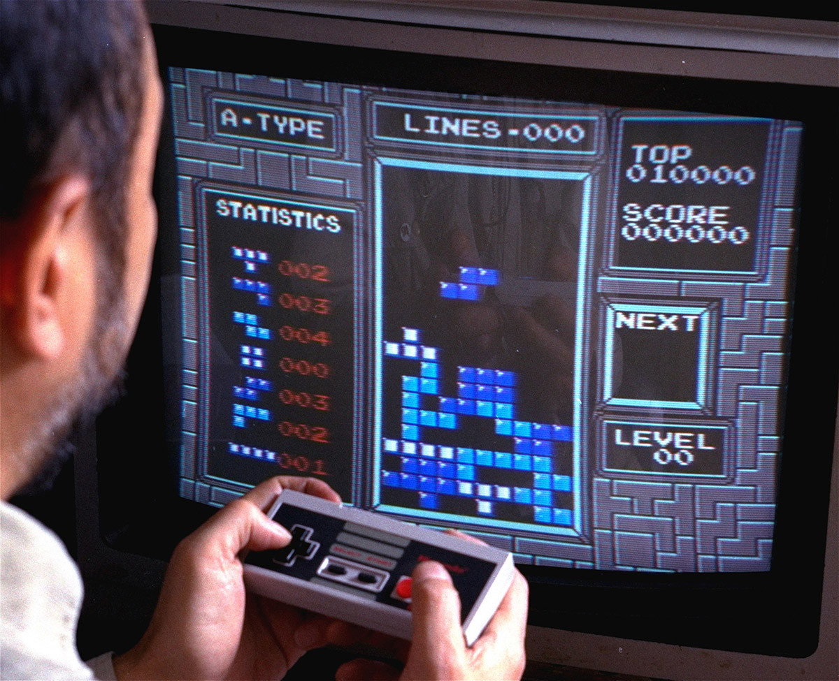 Tampilan gim video Tetris.