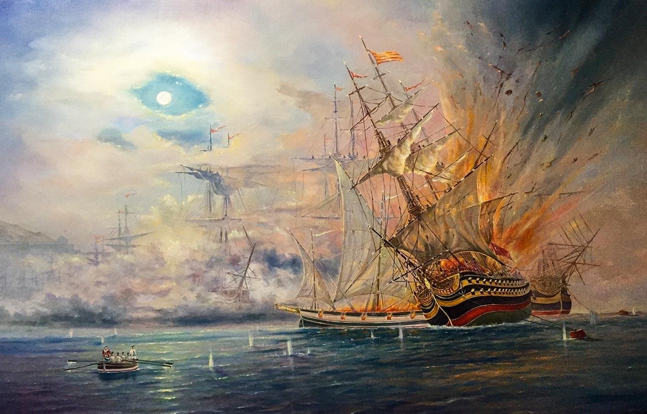 La battaglia di Cesme del 1770