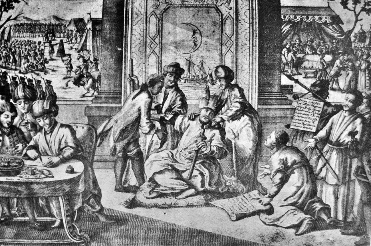 The signing of the Kuchuk-Kainarji Peace Treaty.