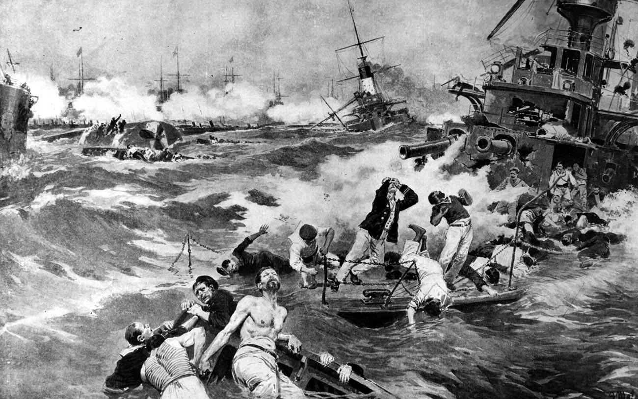 28 de maio de 1905: Marinheiros no convés do navio de guerra russo Borodinó, afundado pela frota japonesa na Batalha de Tsushima