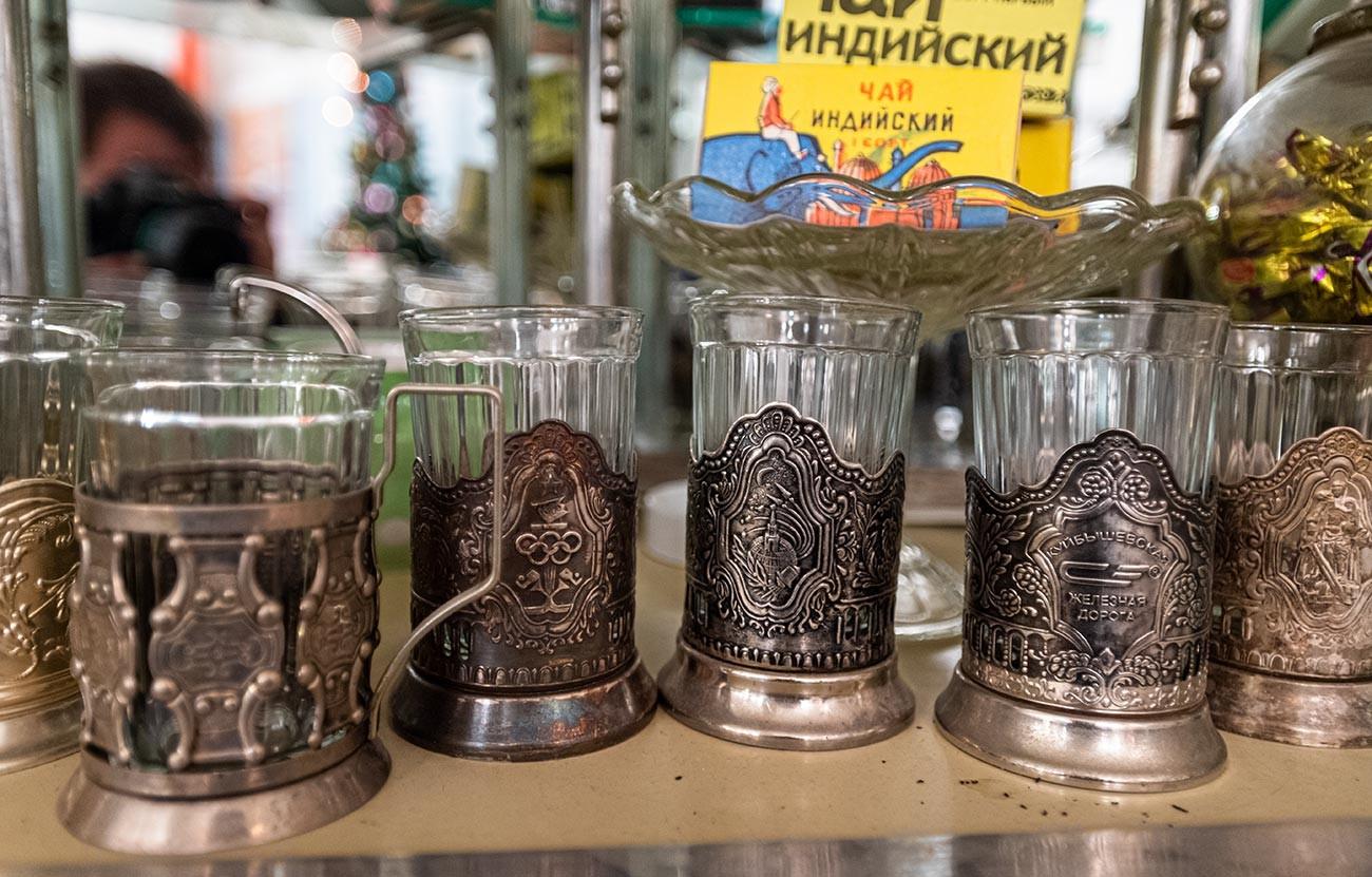 A variety of Soviet era podstakanniks