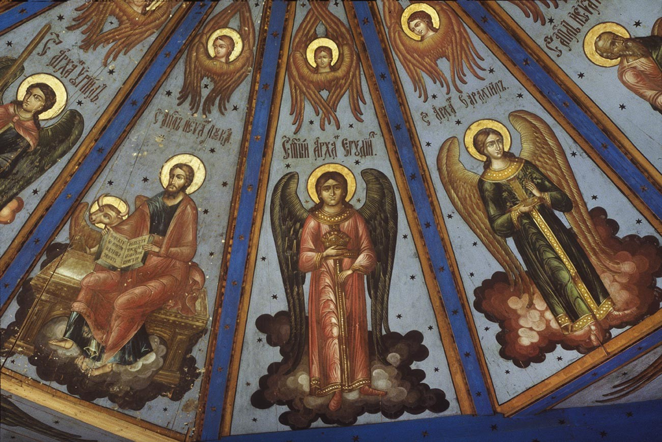 Lyadiny. Intercession Church, painted ceiling (nebo). From left: Archangel Uriel, St. Luke, Archangels Jegudiel, Barachiel. July 29, 1998