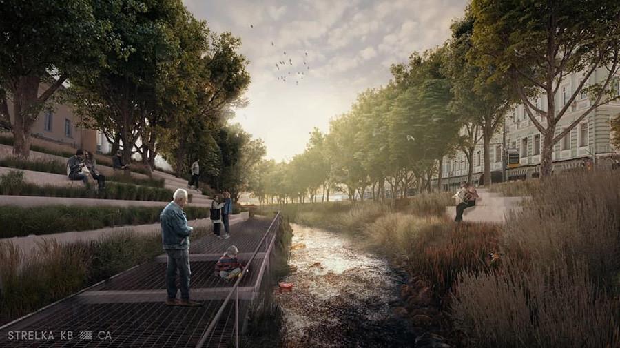 Il Gogolevskij Boulevard immaginato con il fiume Chertorij che scorre in superficie