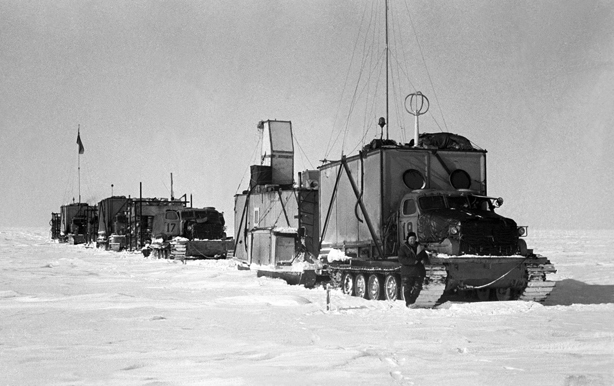 Antarctica. 1959. A view shows the sledge-tractor train of the Third Soviet Antarctic Expedition.